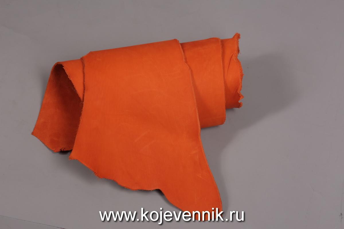 Кожа натуральная - Пола барабаного крашения рыжая