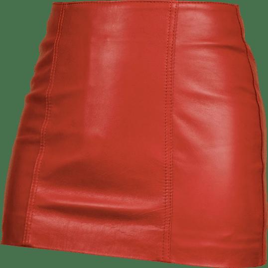 Красная кожаная юбка - украшение любой модницы
